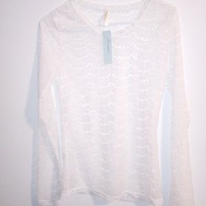 Luz White Lace Long Sleeve Shirt Size Medium NWT